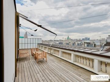 Bestlage nahe Schillerplatz und Staatsoper! 4-Zimmer-Bauhausstil-Penthouse ohne Schrägen und mit großer Südterrasse, 1010 Wien, Penthousewohnung